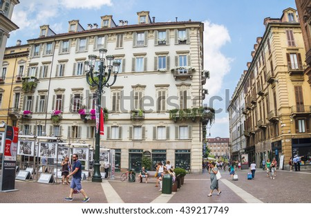 TURIN, ITALY - JUNE 28, 2015. Buildings architecture on the Via Cesare Battisti  in the historical center of Turin, Piedmont, Italy. - stock photo