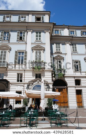 TURIN, ITALY - JUNE 17, 2016. Buildings architecture on the Via Cesare Battisti in the historical center of Turin, Piedmont, Italy. - stock photo