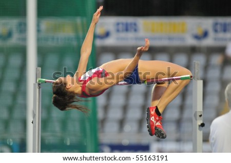 TURIN, ITALY - JUNE 12: Kufaas Stine of Norway performs high jump during the 2010 Memorial Primo Nebiolo track and field athletics international meeting, on June 12, 2010 in Turin, Italy. - stock photo