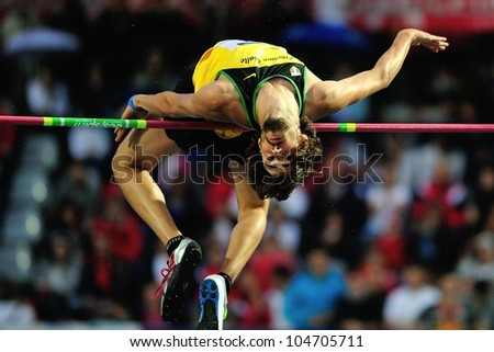 TURIN, ITALY - JUNE 08: Marco Gelati ITA performs high jump during the International Track & Field meeting Memorial Nebiolo 2012 on June 08, 2012 in Turin, Italy. - stock photo
