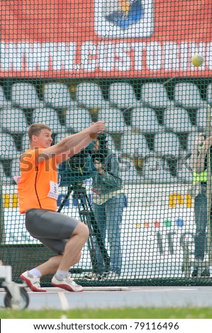 TURIN, ITALY - JUNE 10: Martynyuk Andriy (UKR) performs hammer throw during the 2011 Memorial Primo Nebiolo track and field athletics international meeting, on June 10, 2011 in Turin, Italy.