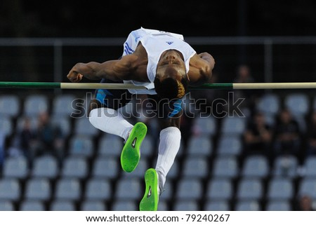 TURIN, ITALY - JUNE 10: Oni Samson (GBR) performs high jump during the 2011 Memorial Primo Nebiolo track and field athletics international meeting, on June 10, 2011 in Turin, Italy. - stock photo