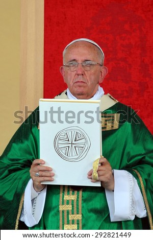 TURIN,ITALY-JUNE 21: Pope Francis celebrates the Mass in Turin June 21, 2015 in Turin Italy  - stock photo
