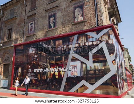 TURIN,ITALY - JUNE 28, 2015. Turin, one of the most attractive city in Italy, for many tourists of the world. National Museum of Cinema Torino. - stock photo