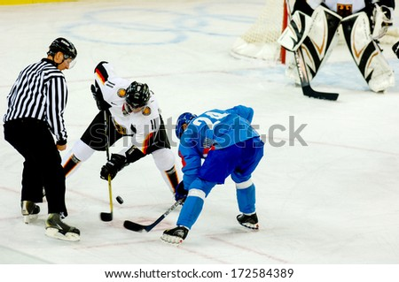 TURIN ITALY - MARCH 28: Ice Hockey match Italy vs Germany during the Winter Olympic Games in Turin March 28, 2006.  - stock photo