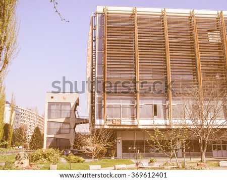 TURIN, ITALY - MARCH 29, 2008: Palazzo del Lavoro meaning Palace of Work designed by Nervi in 1961 is a masterpiece of modern architecture now an abandoned ruin vintage