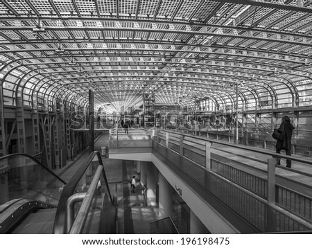 TURIN, ITALY - MARCH 11, 2014: Passengers in the new Torino Porta Susa main railway and subway station