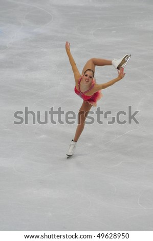 TURIN, ITALY - MARCH 26: Professional Italian skater Carolina KOSTNER performs short program during the 2010 World Figure Skating Championship on March 26, 2010 in Turin, Italy.