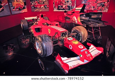 TURIN, ITALY - MAY 14: A model of Ferrari Formula One car on display in the National Automobile Museum in Turin, on May 14, 2011 in Turin, Italy. - stock photo