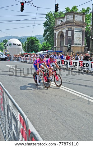"TURIN, ITALY - MAY 7: Professional Cycling Team ""Lampre-ISD"" testing the team time trial. The first stage of ""Giro d'Italia 2011"" on May 7, 2011 in Turin, Italy."