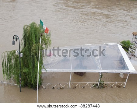 TURIN, ITALY - NOVEMBER 7: The River Po, Italy's longest river, rose 4m (13 feet) causing flood as thousands were told to evacuate November 7, 2011 in Turin, Italy