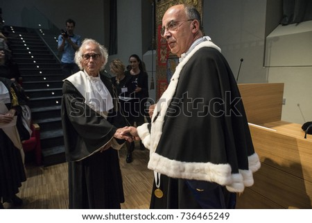 Turin, Italy-17 October 2017: Christo artist receives delivery of Honris Degree from Cavalerizza in Turin