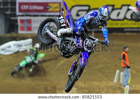 TURIN, ITALY - OCTOBER 01: DESPREY Maxime on Yamaha 250 SX1 competes at Supercross SX series, on October 01, 2011 in Turin, Italy. SX Series is an important European indoor motocross championship. - stock photo