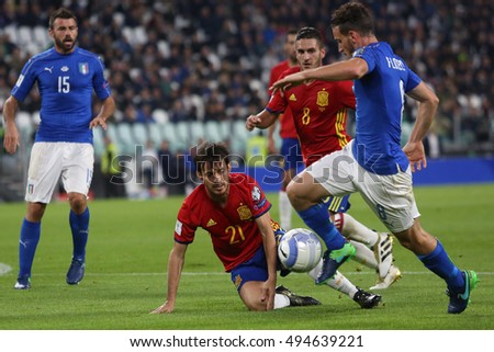 Turin, Italy 6 october, 2016: Florenzi in action during the match European Qualifiers Russian World Cup 2018  between Italy vs Spain in Juventus  stadium in Turin on October 2016.