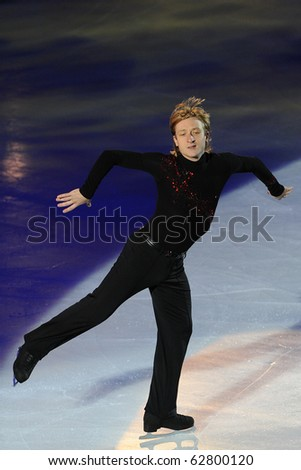 TURIN, ITALY - OCTOBER 09: Professional skater Evgeni Plushenko from Russia performs gala during the 2010 Golden skate awards on October 09, 2010 in Turin, Italy.