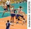 TURIN, ITALY - SEPTEMBER 25: France players attack during match France vs. Czech Republic First Round of FIVB World Men Volleyball Championship Italia 2010, September 25, 2010 in Turin, Italy. - stock photo