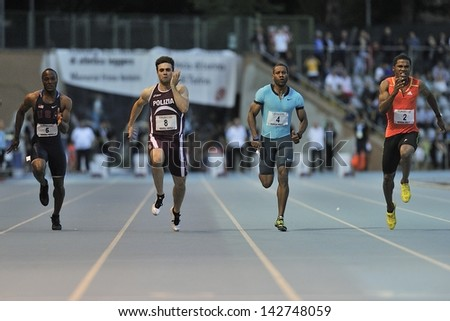 TURIN - JUNE 8:(second from left) Ricks Keith, Tumi Michael, Newman Calesio runs 100m sprint men race at XIX Turin International Track and Field meeting, Italy on 8th june 2013, in Turin, Italy. - stock photo