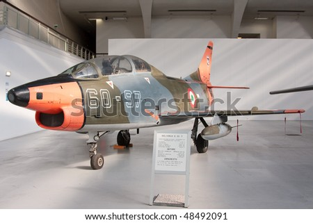 """TURIN - MARCH 12: G 91 T. Aircraft on static display in Turin during the exhibition of  Italian Air Force  """"The Century with wings"""" on March 12, 2010 in Turin, Italy - stock photo"""