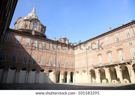 TURIN - MARCH 7: The internal courtyard of the Palazzo Reale on March 7, 2012 in Turin, Italy. Turin Palazzo Reale was the royal palace of the House of Savoy and is currently a museum.