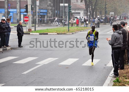 TURIN - NOVEMBER 14: The 10th ranked in the international competition Turin Marathon,  Richard Rotich, Kenya. November 14, 2010 Turin, Italy.