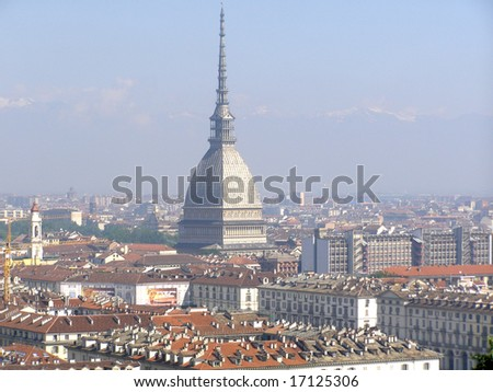 Turin panorama seen from the hill - stock photo