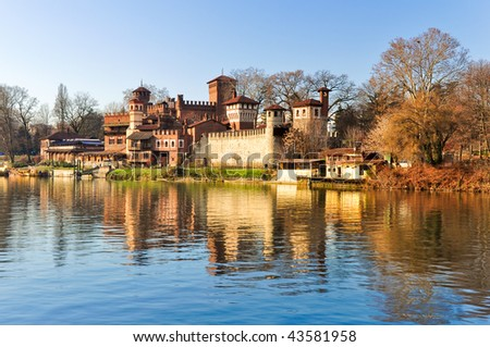 Turin, river Po, view of medieval castle. - stock photo