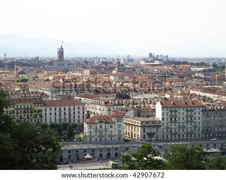 Turin skyline panorama seen from the hill