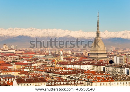 Turin, view of Mole Antonelliana. - stock photo