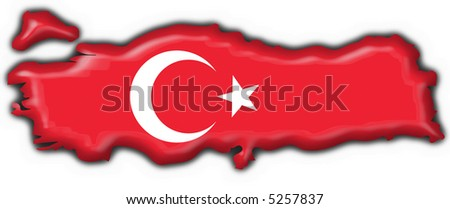 Turk button flag map shape - stock photo