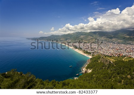 Turkey. Alanya. Aerial view from the Citadel of Alanya on west  part of modern city with a famous Cleopatra Beach
