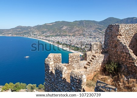 Turkey. Alanya Castle. Viewing point. Cleopatra's beach - stock photo