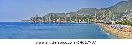 Turkey Alanya  Mediterranean sea coastal panorama view of the city and the beach of Cleopatra - stock photo