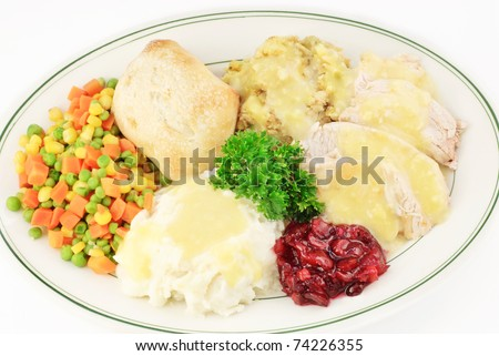 Turkey and dressing Thanksgiving meal on a plate - stock photo