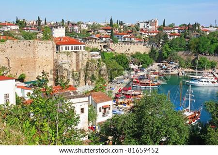 Turkey. Antalya town. Beautiful view of harbor - stock photo