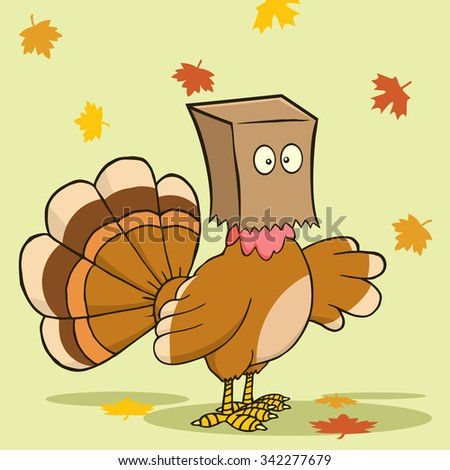 Turkey Bird Cartoon Character Hiding Under A Bag. Raster Illustration With Background - stock photo