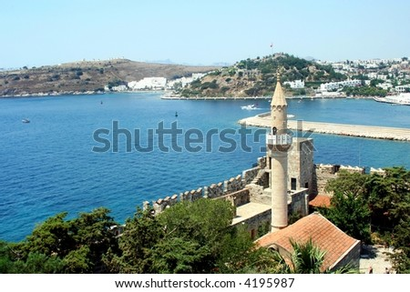 Turkey. Bodrum city.  The ancient name - Halikarnas. Castle of Saint Peter - stock photo