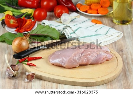 Turkey breast and vegetables  - stock photo