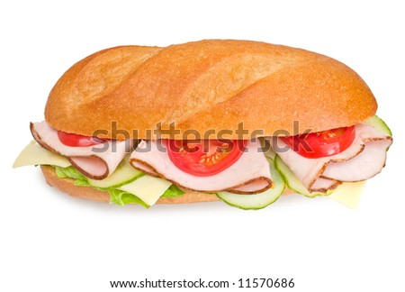 Turkey breast sandwich with cheese, lettuce, tomatoes and cucumbers isolated on white background - stock photo