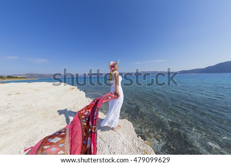 TURKEY - BURDUR; September 2, 2016, a woman in Selda lake, located in Salt Lake anatolia.?t southwest Inc. very attractive for tourists known as the deep lake
