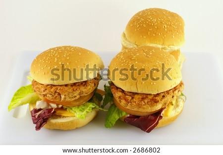 turkey burger - stock photo