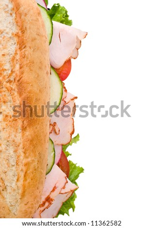 Turkey/chicken breast sandwich with lettuce, tomatoes and cucumbers on white background - stock photo