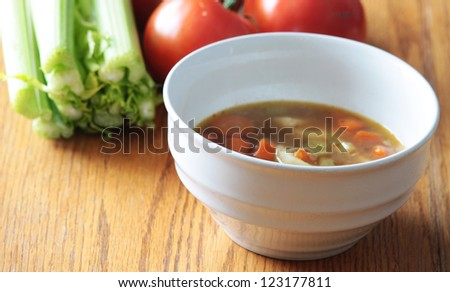 Turkey, Chicken Vegetable Soup - stock photo