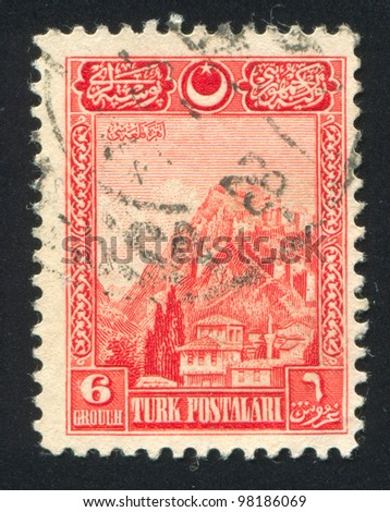 TURKEY- CIRCA 1926: A stamp printed by Turkey, shows Fortress of Ankara, circa 1926