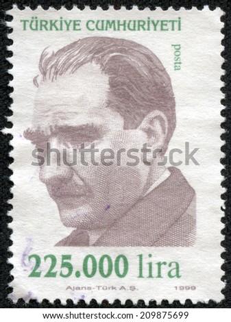 TURKEY - CIRCA 1999: A stamp printed by Turkey, shows president Kemal Ataturk, circa 1999. - stock photo