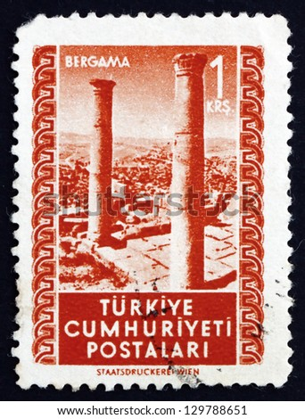 TURKEY - CIRCA 1952: a stamp printed in the Turkey shows Ruins, Bergama, circa 1952 - stock photo