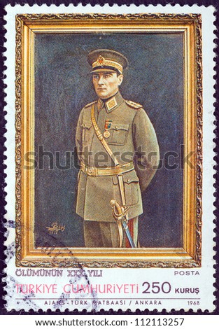 TURKEY - CIRCA 1968: A stamp printed in Turkey issued for the 30th death anniversary of Kemal Ataturk shows Kemal Ataturk in military uniform, circa 1968.