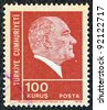 TURKEY - CIRCA 1972: A stamp printed in Turkey shows a portrait of Kemal Ataturk, circa 1972. - stock photo