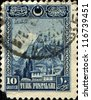 TURKEY - CIRCA 1929: A Stamp printed in Turkey shows Fortress of Ankara, circa 1929 - stock photo