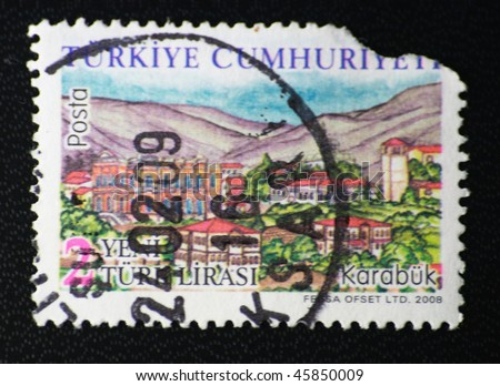 TURKEY - CIRCA 2008: A stamp printed in Turkey shows karabuk city, circa 2008