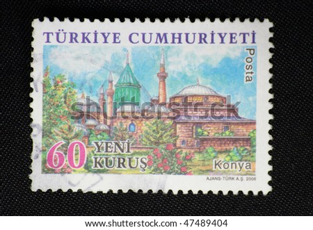 TURKEY - CIRCA 2006: A stamp printed in Turkey shows konya city, circa 2006
